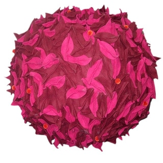 Pink/ Brown Leaves Pouf (India)