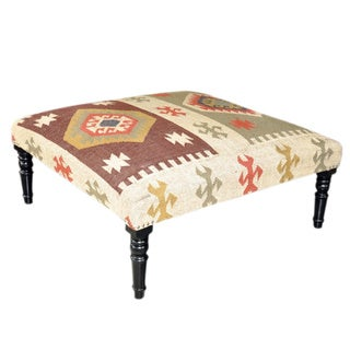 Square Wooden Kilim Ottoman (India)
