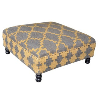 Yellow/ Grey Wooden Kilim Ottoman (India)