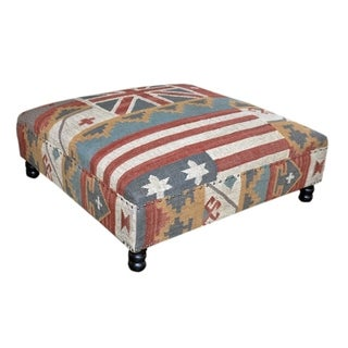 Flag Wooden Kilim Ottoman (India)
