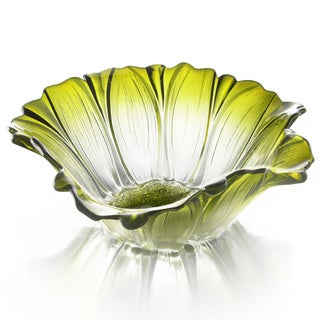 Glass Daisy 12.5-inch Green Bowl