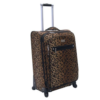 Nicole Miller Brown Spot Check 24-inch Spinner Upright Suitcase