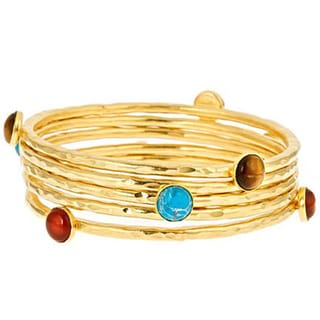 24-karat Yellow Goldplated Multi-stone Bangle Bracelet Set