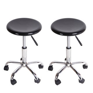 Adeco Black Barstool Upholstery Chairs (Set of 2)