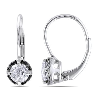 Miadora Sterling Silver White Topaz and Black Diamond Earrings