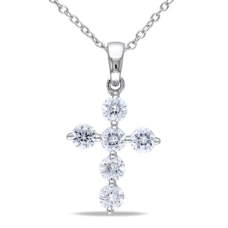 M by Miadora Sterling Silver Cubic Zirconia Cross Necklace
