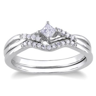 Miadora Sterling Silver 1/5ct TDW Diamond Bridal Ring Set (H-I, I2-I3)
