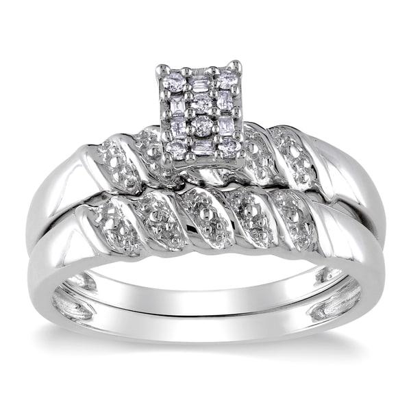 Haylee Jewels Sterling Silver 1/10ct TDW Diamond Bridal Ring Set (H-I,I2-I3)