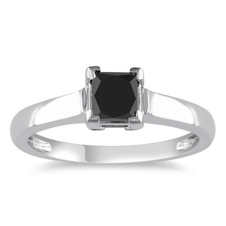 Miadora 10k White Gold 1ct TDW Black Diamond Solitaire Ring