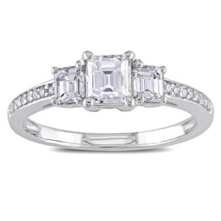 Miadora 14k White Gold 7/8ct TDW Emerald-cut Diamond 3-stone Ring (G-H, I1-I2)
