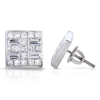Annello 18k White Gold 3/4ct TDW Princess and Baguette Invisible-set Diamond Earrings (G-H, VS1-VS2)
