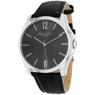 Kenneth Cole Men's KCW1039 New York Sunray Black Leather Watch