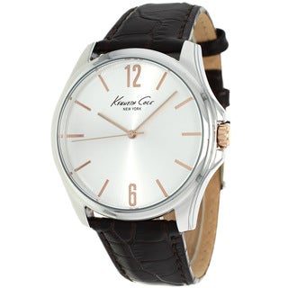 Kenneth Cole Men's KCW1040 New York Silvertone Sunray Dial Leather Watch