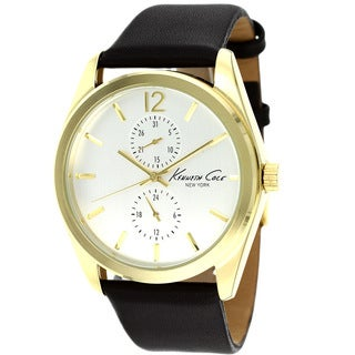 Kenneth Cole Men's KCW1031 Goldtone Dial Black Leather Watch