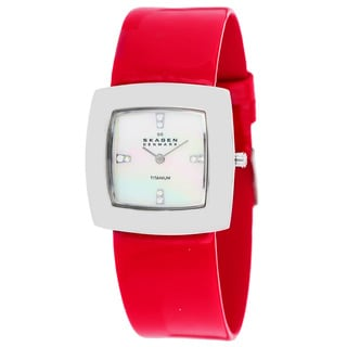 Skagen Women's 570STLR Crystal Red Square Titanium Watch