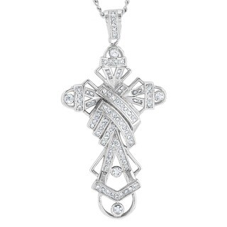 Stainless Steel Crystal Cross Pendant Necklace