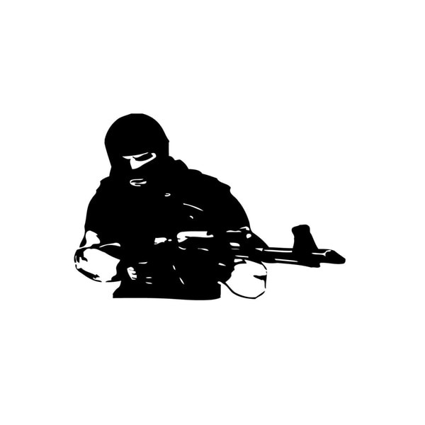 Man with Machine Gun Vinyl Wall Art