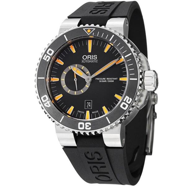 Oris Men's 743 7673 4159 RS 'Aquis' Black Dial Black Rubber Strap Watch