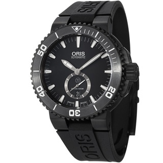 Oris Men's 739 7674 7754 RS 'Aquis' Black Dial Black Rubber Strap Date Watch