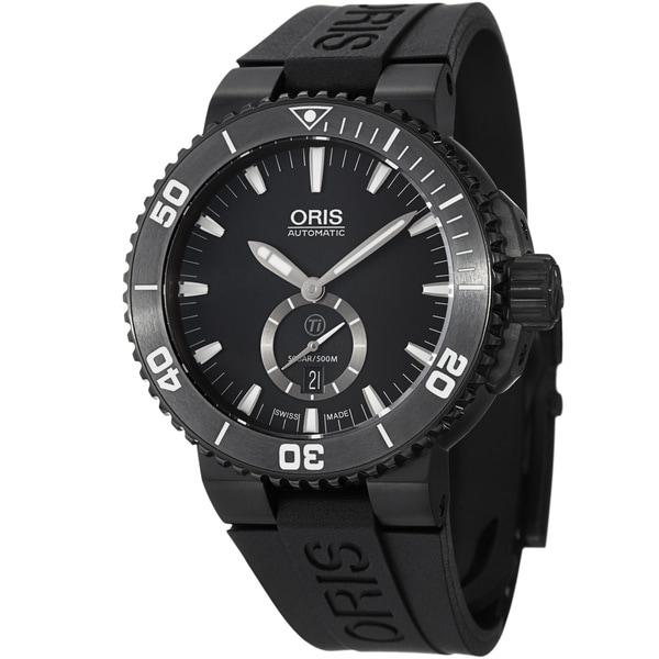 Oris Men's 739 7674 7754 RS 'Aquis' Black Dial Black Rubber Strap Date Watch