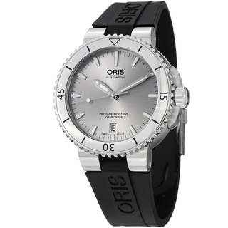 Oris Men's 733 7676 4141 RS 'Aquis' Silver Dial Black Rubber Strap Automatic Watch