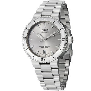 Oris Men's 733 7676 4141 MB 'Aquis' Silver Dial Stainless Steel Bracelet Watch