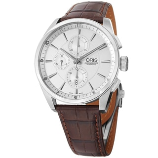 Oris Men's 674 7644 4051 LS 'Artix' Silver Dial Brown Leather Strap Chrono Watch