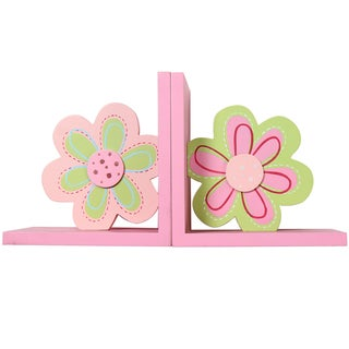 Pink and Green Flower Kid Bookends (Set of 2)