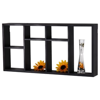 Black Wooden 7-opening Wall Shelves