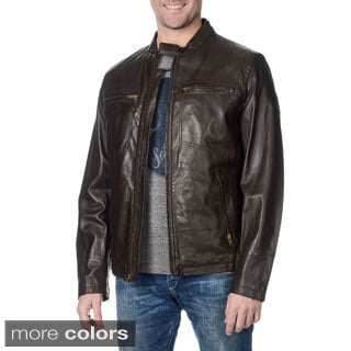 WhetBlu Men's Lambskin Leather Zippered Moto Jacket