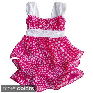 Toddler Girls Sequin and Polka Dot Tiered Dress
