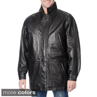 WhetBlu Men's Mid-length Leather Jacket