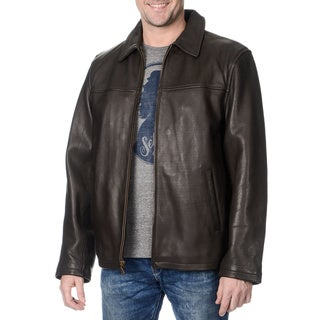 WhetBlu Men's Mahogany Leather Zip Jacket