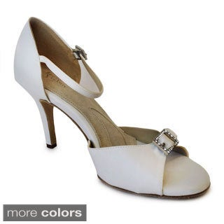 Angela Nuran's Women's 'Eternity' Ivory Crystal Brooch Pumps