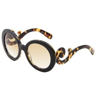 Prada Women's 'PR 27NS NAI9S1' Havana Minimal-Baroque Round Sunglasses
