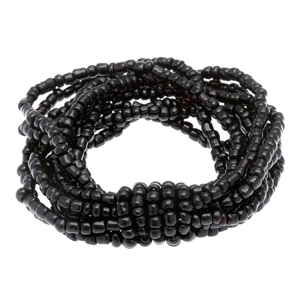 Black Glass Bead 10-strand Stretch Bracelet
