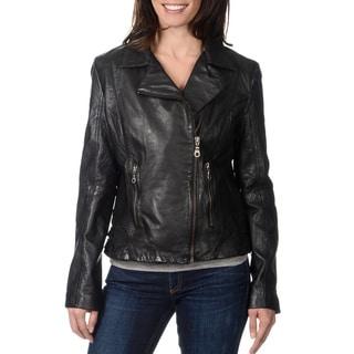 Whetblu Women's Black Leather Motorcycle Jacket