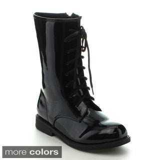 Jelly Beans Girls 'Chrissy' Patent Mid-calf Combat Boots