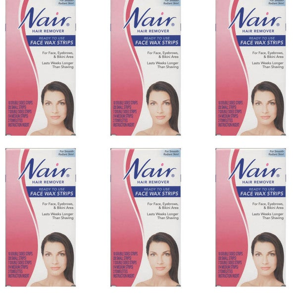 Nair Hair Remover Ready-to-Use 20-count Face Wax Strips (Pack of 6)