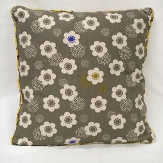 Grey Organic Cotton Poppies Throw Pillow (Set of 2)