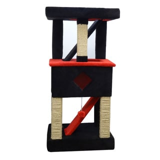New Cat Condos Solid Wood Cat Play Gym (Red/Black)