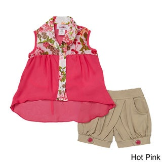 Toddler/ Girls Floral Button-up Tank and Tan Shorts Set