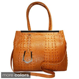 Vecceli Italy Alligator-embossed Leather Satchel