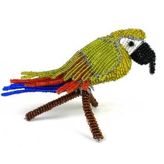 Handmade Beaded Parrot on Branch Sculpture (Zimbabwe)