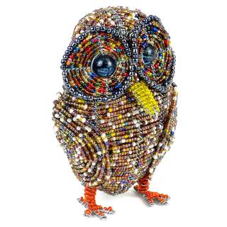 Handmade Beaded Owl Sculpture (Zimbabwe)