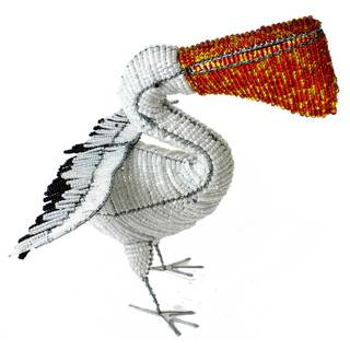 Handmade Large Beaded Pelican Sculpture (Zimbabwe)