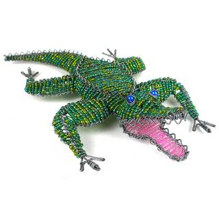 Handmade Large Beaded Crocodile Figurine (Zimbabwe)