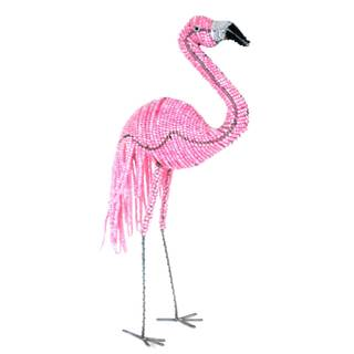 Handmade 15-inch Tall Beaded Flamingo Sculpture (Zimbabwe)
