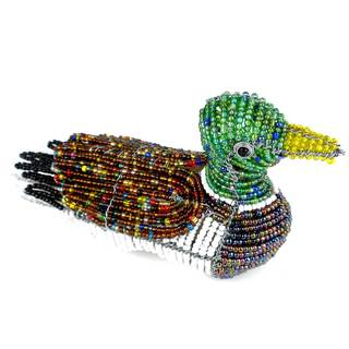 Handmade Beaded Mallard Duck Sculpture (Zimbabwe)