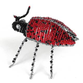 Handmade Beaded Lady Bug Figurine (Zimbabwe)